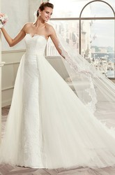 Scalloped-Neck Cap-Sleeve A-Line Bridal Gown With Illusive Design And Brush Train