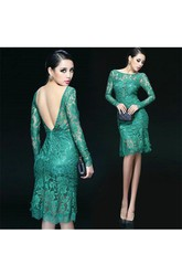 Sexy Lace Appliques Knee-Length Dresses With Beautiful Full Sleeve Backless
