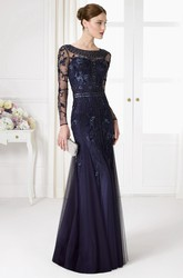 Trumpet Beaded Floor-Length Long-Sleeve Scoop-Neck Tulle Prom Dress With Sequins