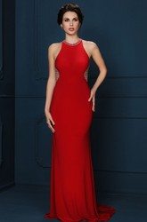 Sheath Beaded Sleeveless Long Scoop-Neck Jersey Evening Dress