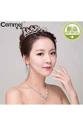 Bride Headdress Korean Crown Zircon Necklace Earrings Western Wedding White Wedding Accessories