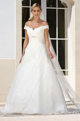 A-Line Long Appliqued Off-The-Shoulder Tulle&Satin Wedding Dress With Broach And Side Draping
