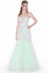 Trumpet Long Sleeveless Beaded Sweetheart Tulle Prom Dress