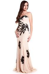 Sheath Sweetheart Appliqued Maxi Sleeveless Lace Prom Dress With Backless Style And Sweep Train