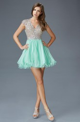 A-Line Short V-Neck Cap-Sleeve Keyhole Dress With Beading And Pleats