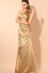One-Shoulder Sleeveless Taffeta Evening Dress With Ruching And Flower