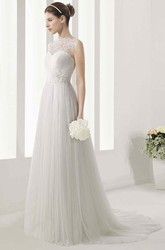 High Neck Sleeveless Tulle Gown With Lace Bodice And Pleated Skirt