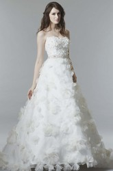 A-Line Sleeveless Floral Long Strapless Satin Wedding Dress With Low-V Back And Waist Jewellery