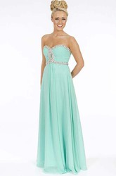 A-Line Maxi Ruched Sweetheart Sleeveless Chiffon Prom Dress With Beading