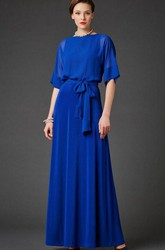 Illusion Half Sleeve Chiffon Mother of the Bride Dress