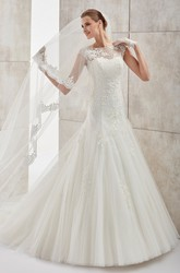 Jewel-neck Cap-sleeve Wedding Dress with Mermaid Style and Open Back