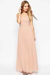 Sleeveless Strapped Criss-Cross Chiffon Bridesmaid Dress