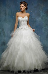A-Line Ball-Gown Sweetheart Floor-Length Sleeveless Cascading-Ruffle Tulle Wedding Dress With Beading And Lace-Up Back