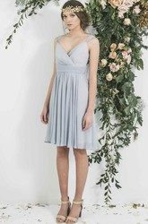 Mini Strapped Pleated Sleeveless Chiffon Bridesmaid Dress