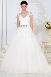 A-Line Short-Sleeve Appliqued Long Scoop-Neck Tulle Wedding Dress With Beading And Waist Jewellery