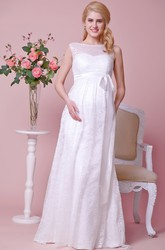 Bateau Neck Lace Cap-Sleeved Maternity Wedding Dress With Satin Bow