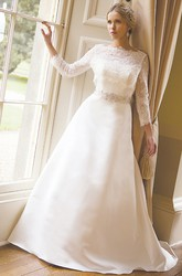 A-Line Bateau Neck Appliqued Long Sleeve Satin Wedding Dress