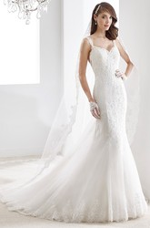 Sweetheart A-Line Pleated Lace Gown With Pearl Belt And Brush Train