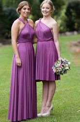 Knee-Length Ruched Sleeveless Halter Chiffon Bridesmaid Dress With Straps