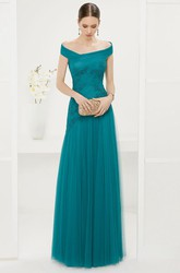 Off Shoulder A-Line Pleated Tulle Long Prom Dress With Appliqued Top