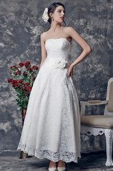 Elegant Strapless Ankle Length Lace Wedding Dress With Flower