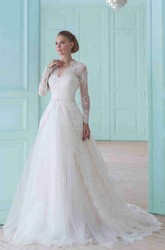 Long V-Neck Appliqued Long-Sleeve Lace Wedding Dress With Court Train And Illusion