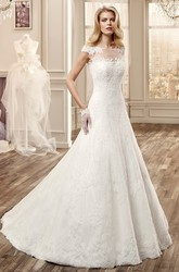 Cap-Sleeve Long Wedding Dress With Illusive Neckline And Court Train