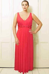 Sleeveless V-Neck Maxi Beaded Chiffon Plus Size Prom Dress With Pleats