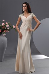 Graceful Queen Anne Evening Gown With Cap-Sleeves Beading
