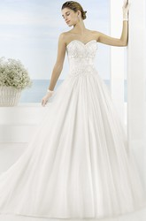 Ball Gown Sweetheart Tulle Wedding Dress With Embroidery And Court Train