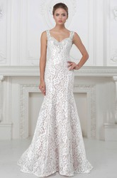 Sheath Long Sleeveless V-Neck Beaded Lace&Satin Wedding Dress