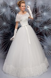 Scoop Long Ruched Cape Tulle Wedding Dress With Flower