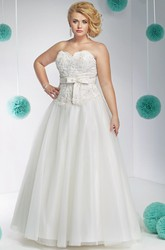 A-Line Sleeveless Appliqued Sweetheart Floor-Length Lace&Tulle Plus Size Wedding Dress With Beading And Bow
