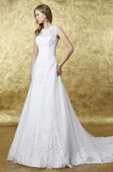 A-Line Appliqued Long Sleeveless Scoop Lace Wedding Dress With Keyhole Back And Court Train