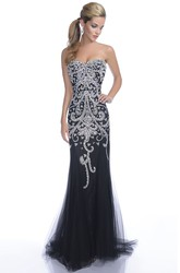Sweetheart Trumpet Tulle Prom Dress Featuring Sequined Appliques