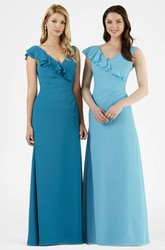 Draped V-Neck Maxi Chiffon Bridesmaid Dress