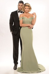 Sheath Appliqued Off-The-Shoulder Floor-Length Jersey Prom Dress