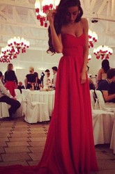 Sexy Red Sweetheart Long Chiffon Prom Dress on Sale