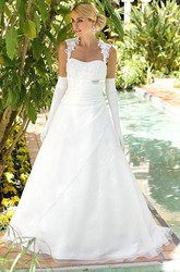 A-Line Appliqued Queen Anne Tulle&Satin Wedding Dress With Broach And Keyhole