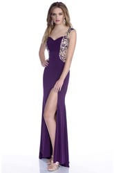 Column V-Neck Jersey Prom Dress With Keyhole Back And Rhinestones Appliques