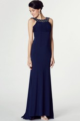 High-Low Sheath Sleeveless Beaded Scoop Neck Jersey Prom Dress