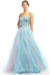 Maxi Sweetheart Beaded Tulle Prom Dress With V Back