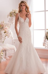 V-Neck Mermaid Wedding Dress With Low Scoop Back And Appliques