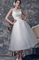 Vintage Tea-Length Wedding Dress with Illusion Back
