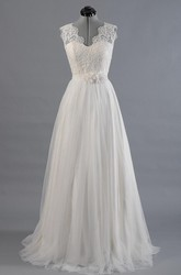 V-Neck Sleeveless Long A-Line Dress With Alencon Lace With Tulle Skirt.