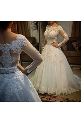 Ball Gown Scalloped Lace Tulle Button Zipper Wedding Dress