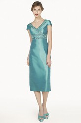 V Neck Short Sleeve Tea Length Satin Prom Dress With Crystal Empire Waist And Jacket