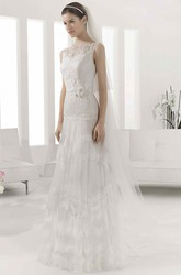 Bateau Sleeveless A-Line Tulle Gown With Lace Bodice And Layered Skirt