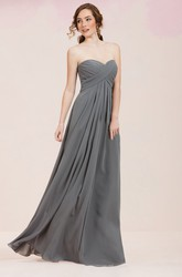 Sweetheart A-Line Long Gown With Crisscrossed Ruching