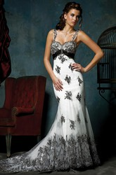 Trumpet Appliqued Sleeveless Long Tulle&Satin Wedding Dress With Broach And Zipper Back